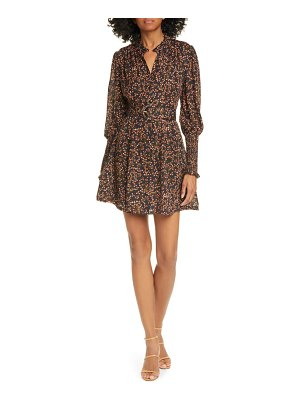 NICHOLAS floral long sleeve belted silk minidress