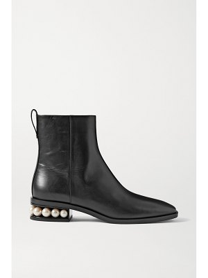 Nicholas Kirkwood casati faux pearl-embellished leather ankle boots