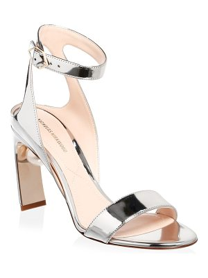 Nicholas Kirkwood lola metallic leather pearl ankle-strap pumps