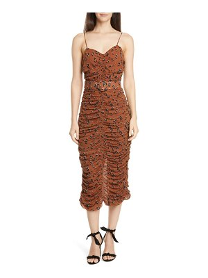NICHOLAS leopard print ruched belted silk dress