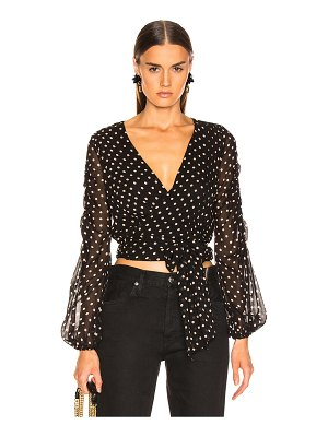 NICHOLAS polka dot pintuck wrap top