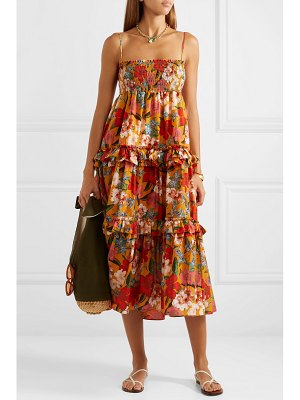 NICHOLAS ruffled shirred floral-print cotton and silk-blend dress