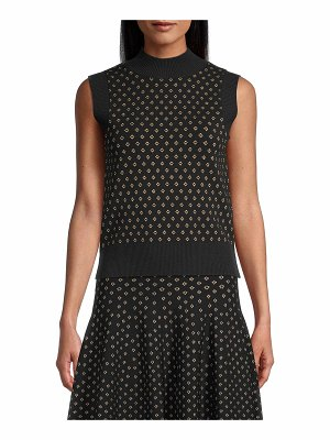 Nicole Miller Diamond Jacquard High-Neck Sleeveless Top