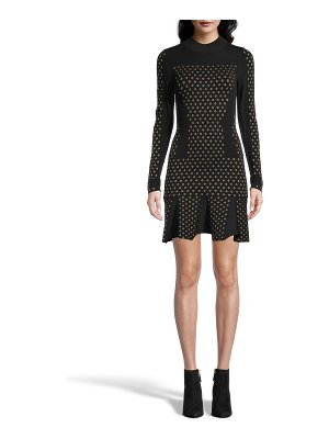 Nicole Miller Diamond Jacquard Long-Sleeve Dress