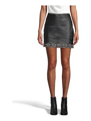 Nicole Miller Embellished Crown Trim Leather Mini Skirt
