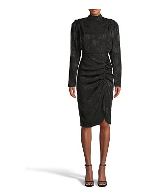 Nicole Miller Floral Crepe Jacquard Mock-Neck Dress