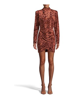Nicole Miller Floral Velvet Burnout Mock-Neck Mini Dress