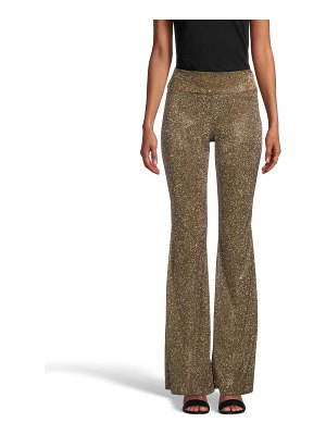 Nicole Miller High-Waist Metallic Sparkle Pants