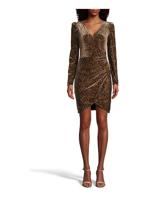 Nicole Miller Leopard Velvet Faux-Wrap Dress