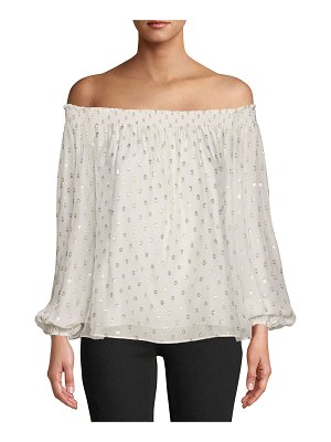 Nicole Miller Rocky Off-the-Shoulder Metallic Dot Top