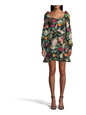 Nicole Miller Rose-Print Silk Crepe De Chine Mini Dress