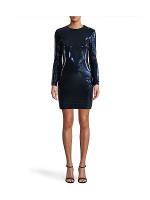 Nicole Miller Sequin Long-Sleeve Mini Dress