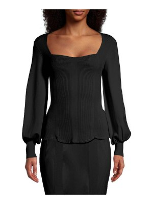 Nicole Miller Square-Neck Balloon-Sleeve Knit Top