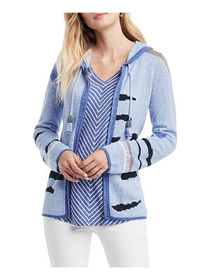 NIC+ZOE Easy Pieces Intarsia Zip-Front Hooded Cardigan