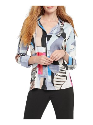 NIC+ZOE pottery print button front shirt