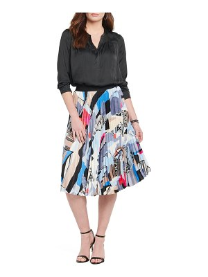 NIC+ZOE Pottery Printed A-Line Pleated Skirt