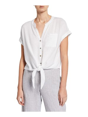 NIC+ZOE Tie It On Button-Front Short-Sleeve Top