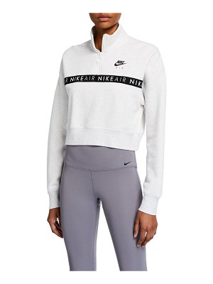 Nike Half-Zip Long-Sleeve Logo Crop Top