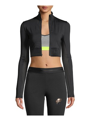 Nike Pro Long-Sleeve Cropped Zip-Front Top