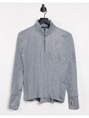 Nike Running element half zip top in gray-grey
