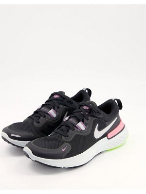 Nike Running react miler sneakers in black and pink