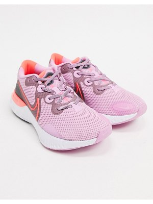 Nike Running renew run sneakers in pink and red