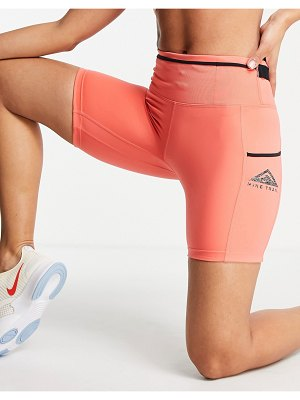 Nike Running trail epic luxe booty shorts in coral-pink