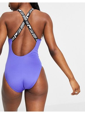 Nike Swimming logo taped swimsuit in blue-blues