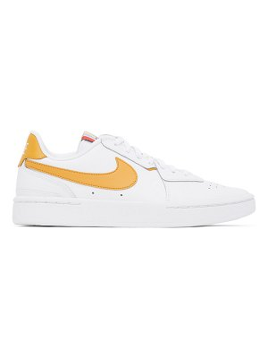 Nike white and yellow leather court blanc sneakers
