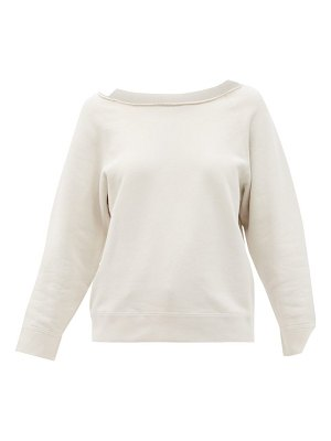 NILI LOTAN luka raw-edged boat-neck cotton sweatshirt
