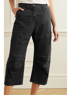 NILI LOTAN martil cropped paneled stretch-cotton tapered pants