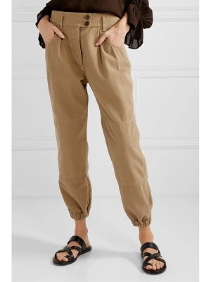 NILI LOTAN military cropped cotton-twill tapered pants