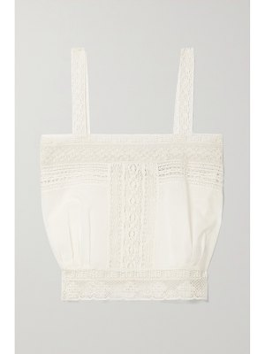 NILI LOTAN penny cropped cotton-voile and lace tank