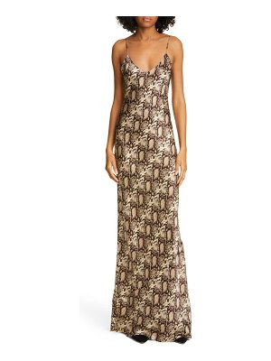 NILI LOTAN snake print silk evening dress