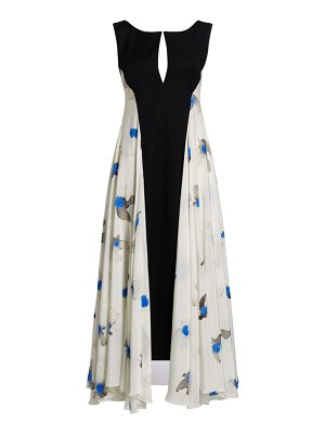 Nina Ricci crepe de chine silk floral pleated wool gown