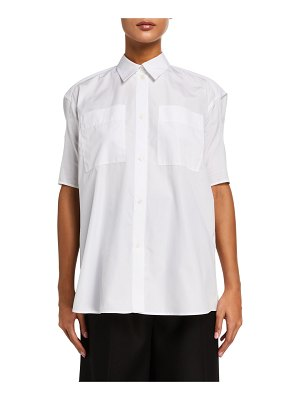 Nina Ricci Puff-Sleeve Poplin Button-Front Shirt