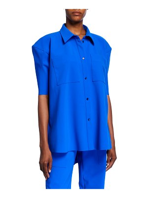 Nina Ricci Puff-Sleeve Scuba Button-Front Shirt
