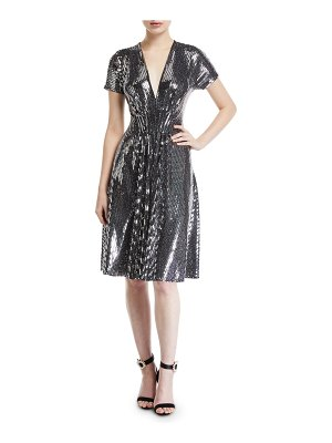 NK32 Naeem Khan V-Neck Flare Sequined Cocktail Dress