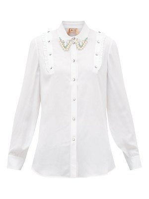 No. 21 crystal and faux-pearl embellished crepe shirt
