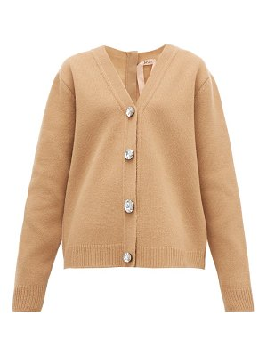 No. 21 crystal button wool blend cardigan