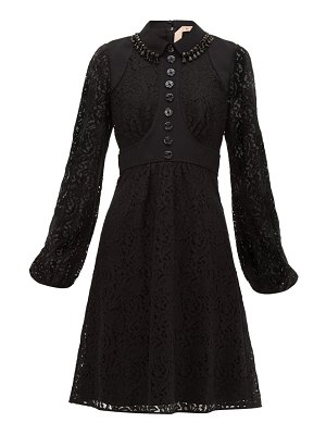 No. 21 crystal embellished cotton blend lace dress