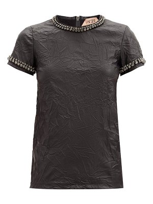 No. 21 crystal-embellished faux-leather t-shirt