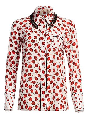 No. 21 embellished collar print silk shirt