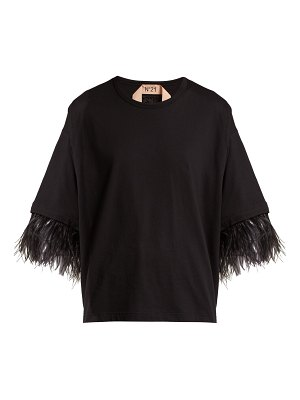 No. 21 Feather-trimmed short-sleeve cotton T-shirt