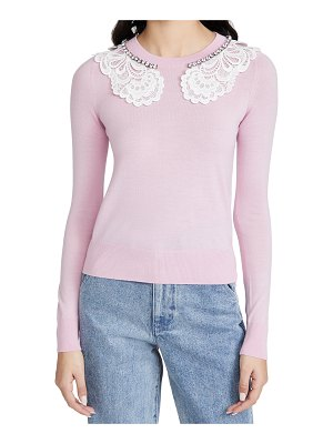 No. 21 lace and jewel collar sweater