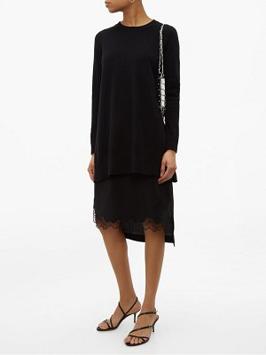 No. 21 lace trimmed layered wool & satin sweater dress