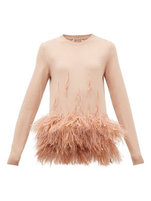 No. 21 ostrich feather-embellished virgin wool sweater