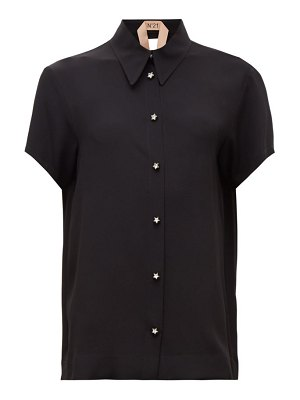 No. 21 point-collar crystal-buttoned crepe top