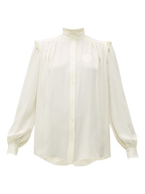 No. 21 ruffle-trimmed crepe blouse