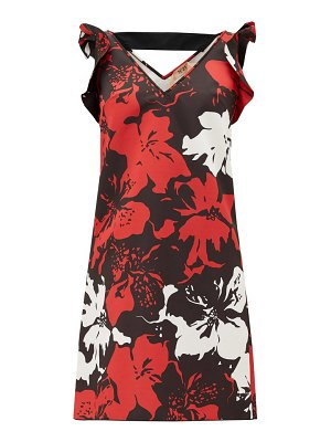 No. 21 ruffled floral-print satin mini dress